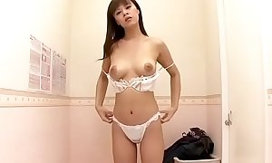 Oriental Milf securing extremist bra in the air transform beau