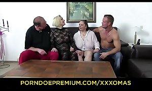 XXX OMAS - Fetish foursome alongside busty matures