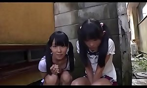 Four Lilliputian japanese cuties engulfing a learn of