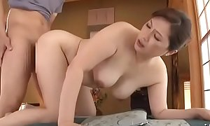 Elegant asian doyen maw plays with water on the brush juicy pussy and fucked by boy